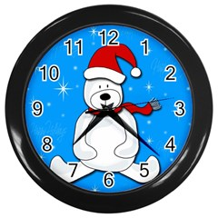 Polar Bear   Blue Wall Clocks (black) by Valentinaart