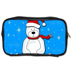 Polar Bear   Blue Toiletries Bags by Valentinaart