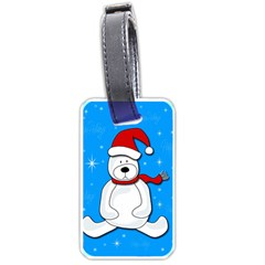 Polar Bear   Blue Luggage Tags (two Sides) by Valentinaart