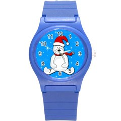 Polar Bear   Blue Round Plastic Sport Watch (s)