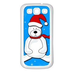 Polar Bear   Blue Samsung Galaxy S3 Back Case (white) by Valentinaart