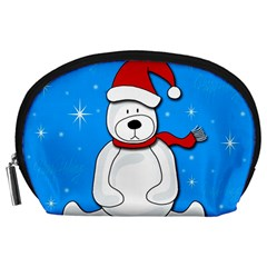 Polar Bear   Blue Accessory Pouches (large)  by Valentinaart
