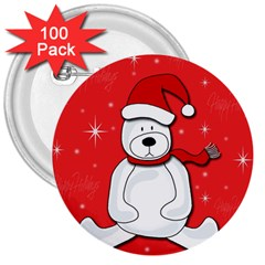 Polar Bear   Red 3  Buttons (100 Pack)  by Valentinaart