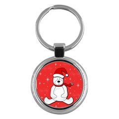 Polar Bear   Red Key Chains (round)  by Valentinaart