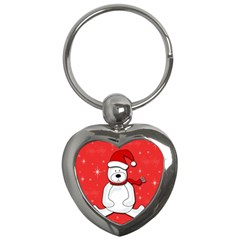 Polar Bear   Red Key Chains (heart)  by Valentinaart