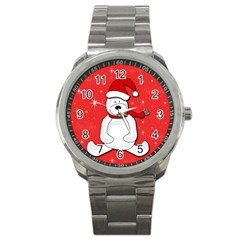 Polar Bear   Red Sport Metal Watch by Valentinaart