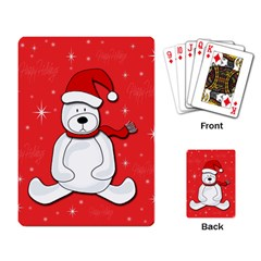 Polar Bear   Red Playing Card by Valentinaart