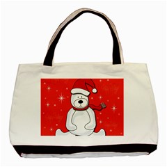 Polar Bear   Red Basic Tote Bag (two Sides) by Valentinaart