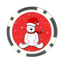 Polar Bear   Red Poker Chip Card Guards by Valentinaart