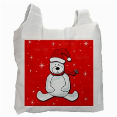 Polar Bear   Red Recycle Bag (one Side) by Valentinaart