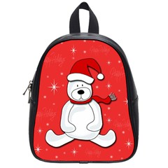 Polar Bear   Red School Bags (small)  by Valentinaart