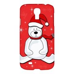 Polar Bear   Red Samsung Galaxy S4 I9500/i9505 Hardshell Case by Valentinaart