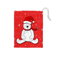 Polar Bear   Red Drawstring Pouches (medium)  by Valentinaart