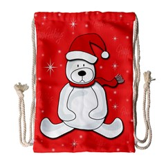 Polar Bear   Red Drawstring Bag (large) by Valentinaart