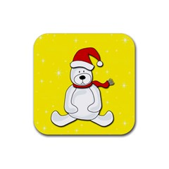 Polar Bear   Yellow Rubber Coaster (square)  by Valentinaart