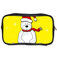 Polar Bear   Yellow Toiletries Bags 2 Side by Valentinaart