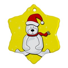 Polar Bear   Yellow Snowflake Ornament (2 Side) by Valentinaart