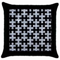Puzzle1 Black Marble & Gray Marble Throw Pillow Case (black)