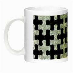 Puzzle1 Black Marble & Gray Marble Night Luminous Mug by trendistuff