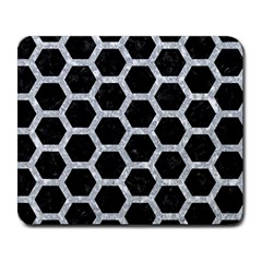 Hexagon2 Black Marble & Gray Marble Large Mousepad by trendistuff