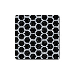 Hexagon2 Black Marble & Gray Marble Magnet (square) by trendistuff