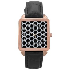 Hexagon2 Black Marble & Gray Marble Rose Gold Leather Watch  by trendistuff