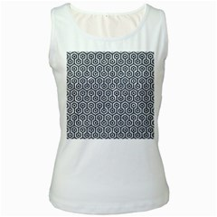 Hexagon1 Black Marble & Gray Marble (r) Women s White Tank Top by trendistuff