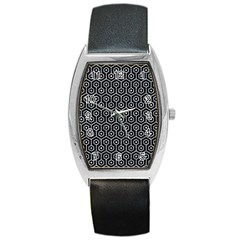 Hexagon1 Black Marble & Gray Marble Barrel Style Metal Watch by trendistuff