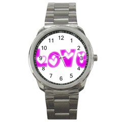 Pink Love Hearts Typography Sport Metal Watch by yoursparklingshop