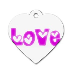 Pink Love Hearts Typography Dog Tag Heart (two Sides)