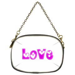 Pink Love Hearts Typography Chain Purses (two Sides)  by yoursparklingshop