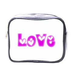 Pink Love Hearts Typography Mini Toiletries Bags by yoursparklingshop