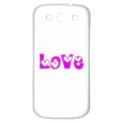 Pink Love Hearts Typography Samsung Galaxy S3 S Iii Classic Hardshell Back Case by yoursparklingshop