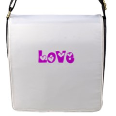 Pink Love Hearts Typography Flap Messenger Bag (s)