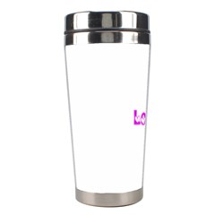 Pink Love Hearts Typography Stainless Steel Travel Tumblers by yoursparklingshop