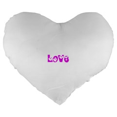 Pink Love Hearts Typography Large 19  Premium Flano Heart Shape Cushions by yoursparklingshop