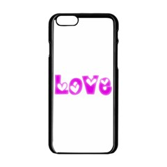 Pink Love Hearts Typography Apple Iphone 6/6s Black Enamel Case by yoursparklingshop