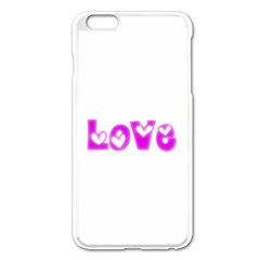 Pink Love Hearts Typography Apple Iphone 6 Plus/6s Plus Enamel White Case by yoursparklingshop
