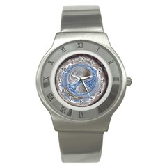 Silver Gray Blue Geometric Art Circle Stainless Steel Watch by yoursparklingshop
