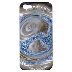 Silver Gray Blue Geometric Art Circle Apple Iphone 5 Hardshell Case by yoursparklingshop