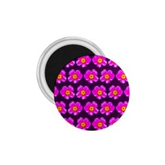 Pink Flower Pattern On Wine Red 1 75  Magnets