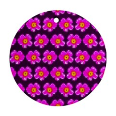 Pink Flower Pattern On Wine Red Ornament (round)