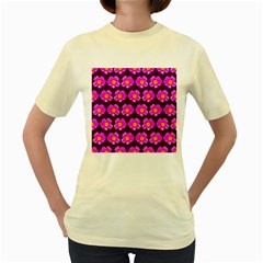 Pink Flower Pattern On Wine Red Women s Yellow T Shirt by Costasonlineshop