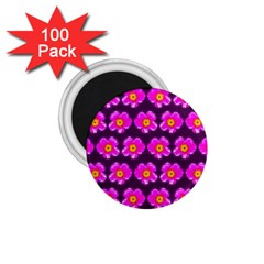 Pink Flower Pattern On Wine Red 1 75  Magnets (100 Pack)