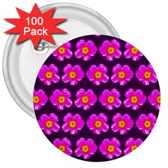 Pink Flower Pattern On Wine Red 3  Buttons (100 Pack)