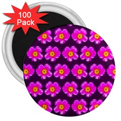 Pink Flower Pattern On Wine Red 3  Magnets (100 Pack)