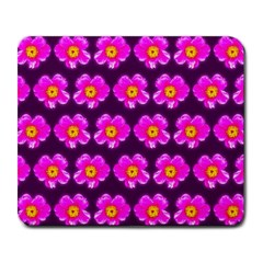 Pink Flower Pattern On Wine Red Large Mousepads by Costasonlineshop