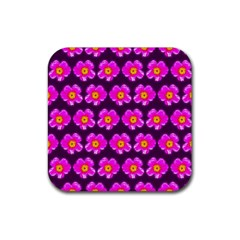 Pink Flower Pattern On Wine Red Rubber Square Coaster (4 Pack)  by Costasonlineshop