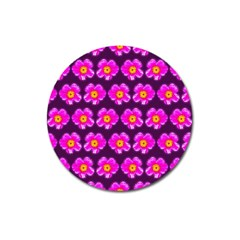Pink Flower Pattern On Wine Red Magnet 3  (round) by Costasonlineshop