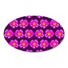 Pink Flower Pattern On Wine Red Oval Magnet